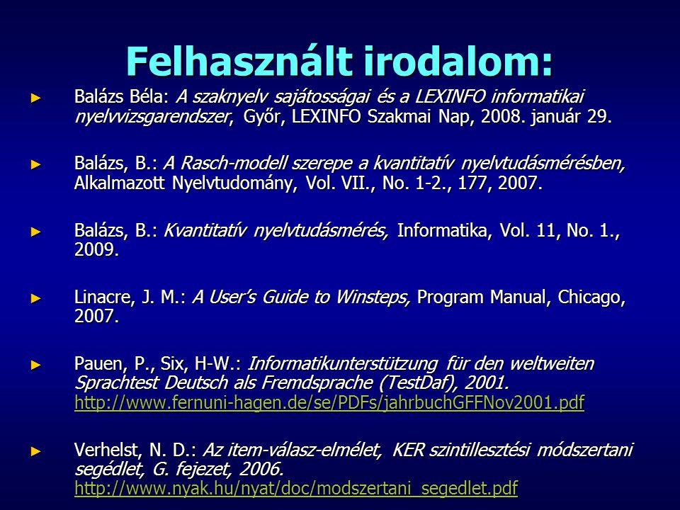 Felhasznált irodalom: ► Balázs Béla: A szaknyelv sajátosságai és a LEXINFO informatikai nyelvvizsgarendszer, Győr, LEXINFO Szakmai Nap, 2008. január 2