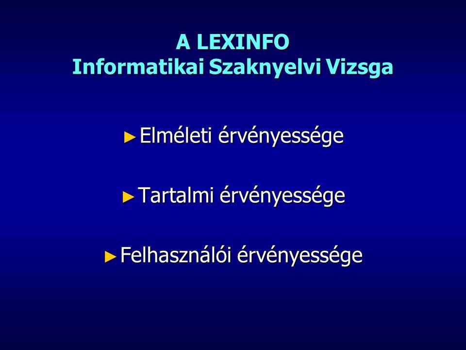 LEXINFO Informatikai Szaknyelvi Vizsga Elméleti érvényesség ► A szaknyelv fogalma ► A szaknyelvek fő jellemvonásai ► Az informatikai szakszókincs kategóriái