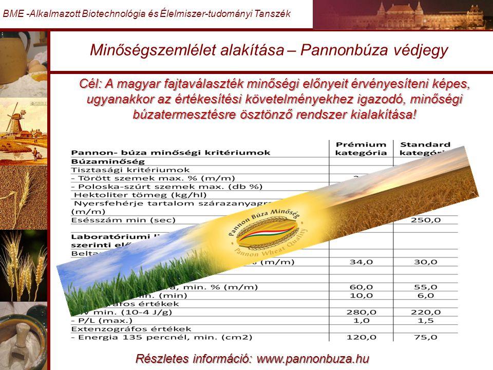 Minőségszemlélet alakítása – Pannonbúza védjegy BME -Alkalmazott Biotechnológia és Élelmiszer-tudományi Tanszék Cél: A magyar fajtaválaszték minőségi előnyeit érvényesíteni képes, ugyanakkor az értékesítési követelményekhez igazodó, minőségi búzatermesztésre ösztönző rendszer kialakítása.