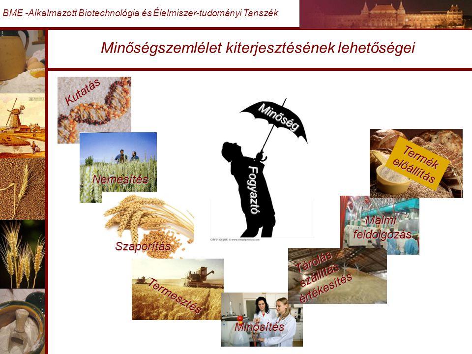 Minőségszemlélet kiterjesztésének lehetőségei BME -Alkalmazott Biotechnológia és Élelmiszer-tudományi Tanszék Kutatás Nemesítés Szaporítás Termesztés Minősítés Malmifeldolgozás Termékelőállítás Tárolás szállítás értékesítés Minőség Fogyaztó A