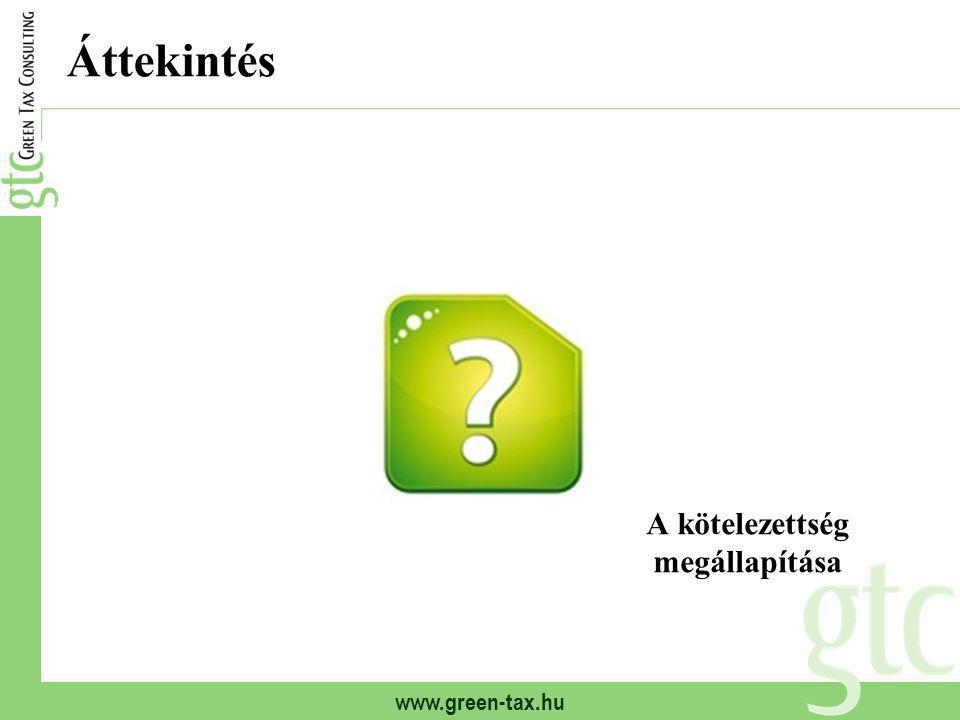 www.green-tax.hu Áttekintés A kötelezettség megállapítása