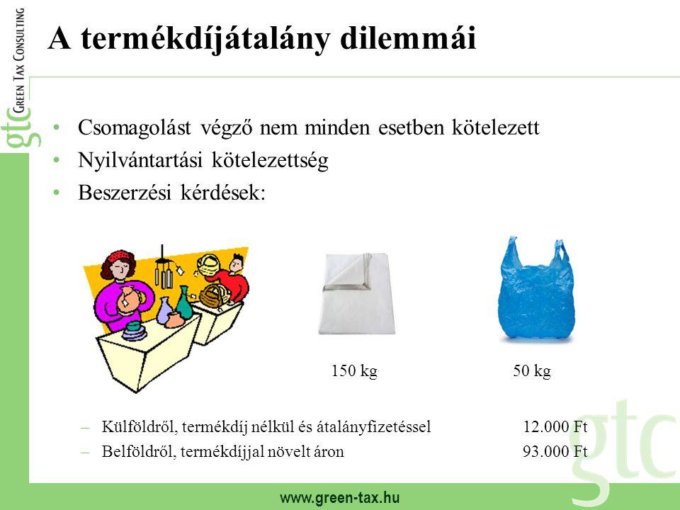 www.green-tax.hu A termékdíjátalány dilemmái Csomagolást végző nem minden esetben kötelezett Nyilvántartási kötelezettség Beszerzési kérdések: –Külföldről, termékdíj nélkül és átalányfizetéssel12.000 Ft –Belföldről, termékdíjjal növelt áron93.000 Ft 50 kg150 kg