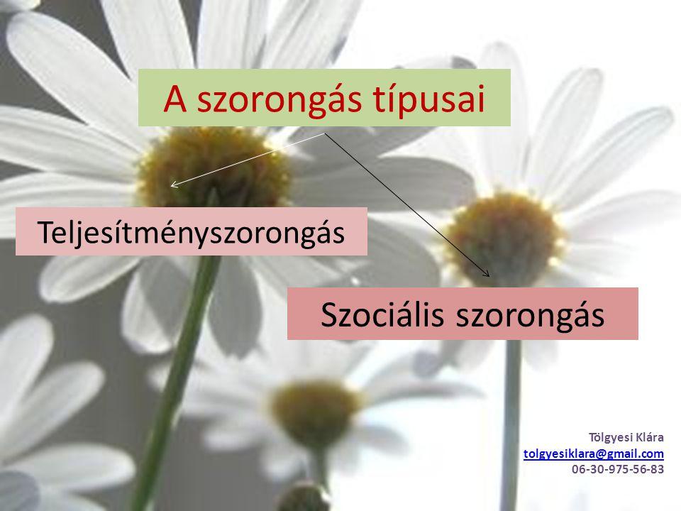 A szorongás típusai Teljesítményszorongás Szociális szorongás Tölgyesi Klára tolgyesiklara@gmail.com 06-30-975-56-83