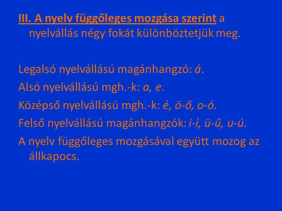 III. A nyelv függőleges mozgása szerint a nyelvállás négy fokát különböztetjük meg. Legalsó nyelvállású magánhangzó: á. Alsó nyelvállású mgh.-k: a, e.