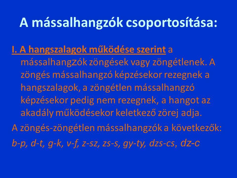 A mássalhangzók csoportosítása: I. A hangszalagok működése szerint a mássalhang z ók zöngések vagy zöngétlenek. A zöngés mássalhangzó képzésekor rezeg