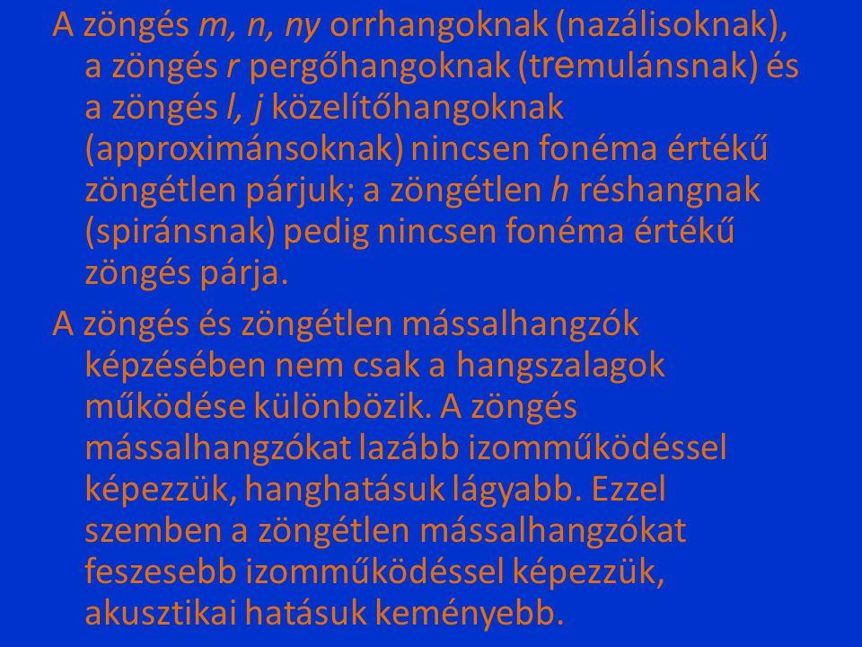 A zöngés m, n, ny orrhangoknak (nazálisoknak), a zöngés r pergőhangoknak (t re mulánsnak) és a zöngés l, j közelítőhangoknak (approximánsoknak) nincse