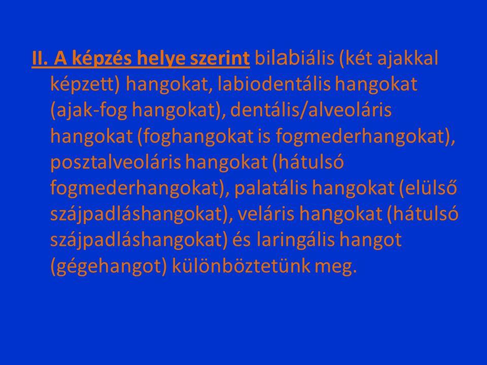II. A képzés helye szerint bi lab iális (két ajakkal képzett) hangokat, labiodentális hangokat (ajak-fog hangokat), dentális/alveoláris hangokat (fogh