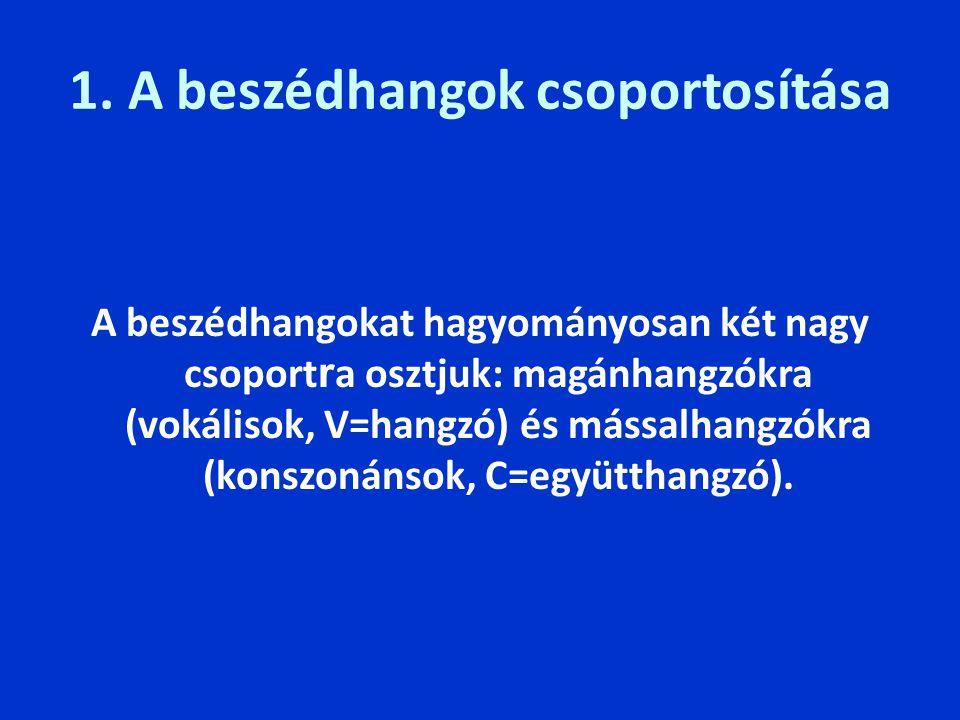 1. A beszédhangok csoportosítása A beszédhangokat hagyományosan két nagy csoport r a osztjuk: magánhangzókra (vokálisok, V=hangzó) és mássalhangzókra