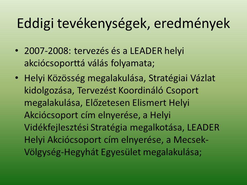 Eddigi tevékenységek, eredmények 2007-2008: tervezés és a LEADER helyi akciócsoporttá válás folyamata; Helyi Közösség megalakulása, Stratégiai Vázlat kidolgozása, Tervezést Koordináló Csoport megalakulása, Előzetesen Elismert Helyi Akciócsoport cím elnyerése, a Helyi Vidékfejlesztési Stratégia megalkotása, LEADER Helyi Akciócsoport cím elnyerése, a Mecsek- Völgység-Hegyhát Egyesület megalakulása;