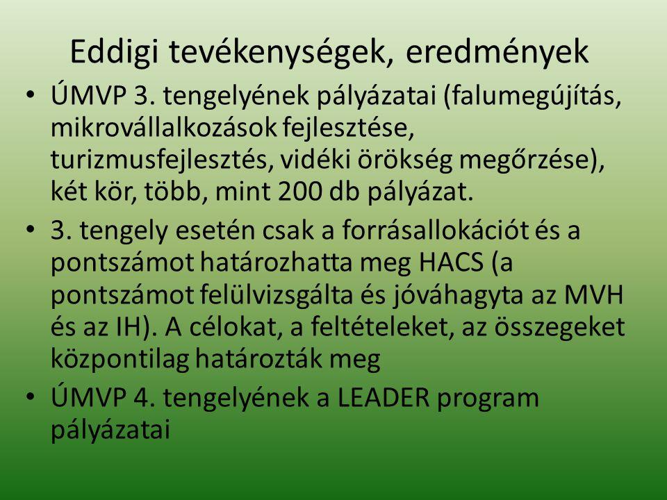 Eddigi tevékenységek, eredmények ÚMVP 3.