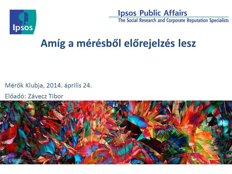 Amíg a mérésből előrejelzés lesz Mérők Klubja, 2014. április 24. Előadó: Závecz Tibor