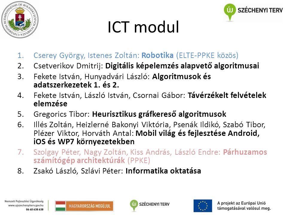 ICT modul 1.Cserey György, Istenes Zoltán: Robotika (ELTE-PPKE közös) 2.Csetverikov Dmitrij: Digitális képelemzés alapvető algoritmusai 3.Fekete Istvá