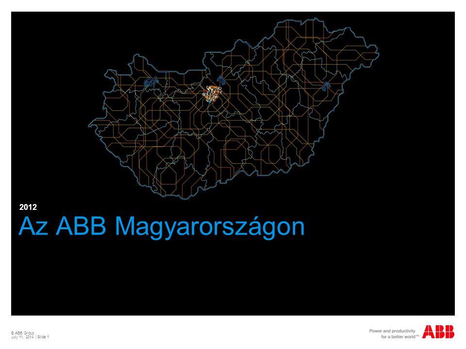 © ABB Group July 11, 2014   Slide 2 Világvezető az energetika és automatizálás terén Piacvezető pozíciók a főbb üzleti területeken  135,000 alkalmazott több mint 100 országban  38 milliárd USD forgalom 2011-ben  Alapítva 1988-ban svájci és svéd mérnöki cégek egyesülésével  A jogi elődöket 1883-ban és 1891- ben alapították  Nyílt részvénytársaság svájci központtal