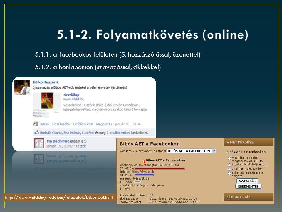 5.1.2. a honlapomon (szavazással, cikkekkel) 5.1.1. a facebookos felületen (S, hozzászólással, üzenettel) http://www.vhildi.hu/irodalom/feladatok/bibo