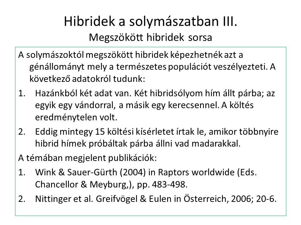 Hibridek a solymászatban III. Megszökött hibridek sorsa A solymászoktól megszökött hibridek képezhetnék azt a génállományt mely a természetes populáci