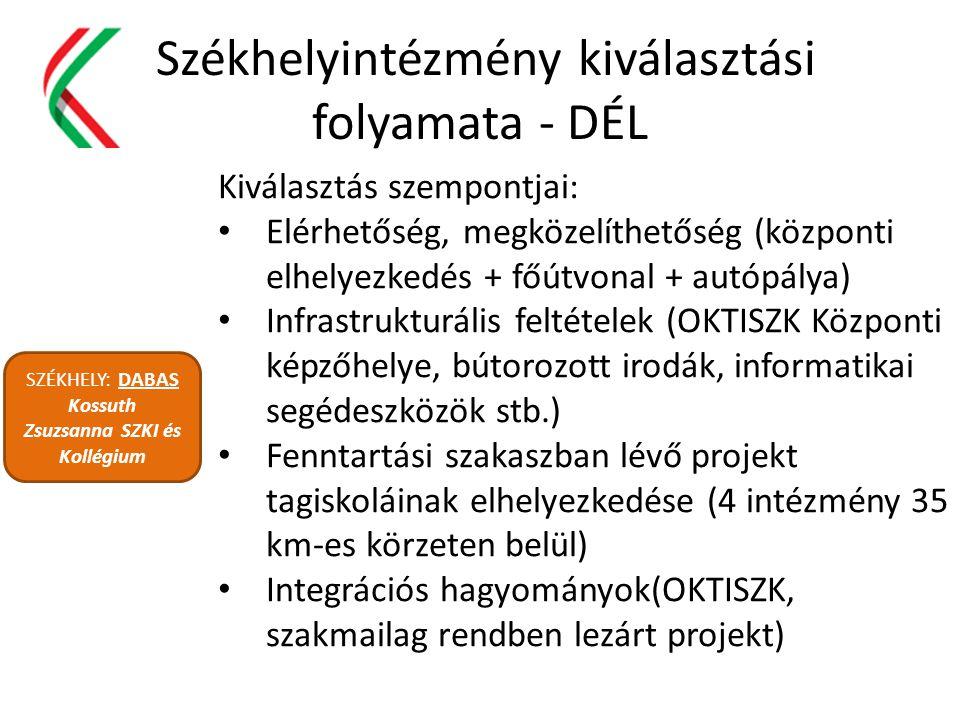 Székhelyintézmény kiválasztási folyamata - DÉL SZÉKHELY: DABAS Kossuth Zsuzsanna SZKI és Kollégium Kiválasztás szempontjai: Elérhetőség, megközelíthet