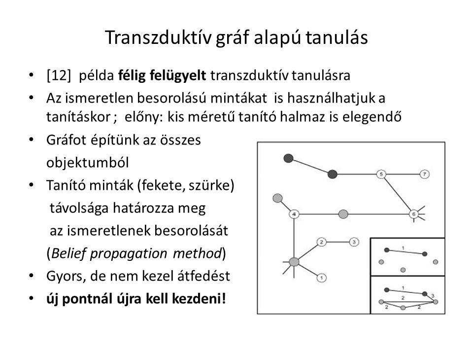Transzduktív gráf alapú tanulás [12] példa félig felügyelt transzduktív tanulásra Az ismeretlen besorolású mintákat is használhatjuk a tanításkor ; előny: kis méretű tanító halmaz is elegendő Gráfot építünk az összes objektumból Tanító minták (fekete, szürke) távolsága határozza meg az ismeretlenek besorolását (Belief propagation method) Gyors, de nem kezel átfedést új pontnál újra kell kezdeni!