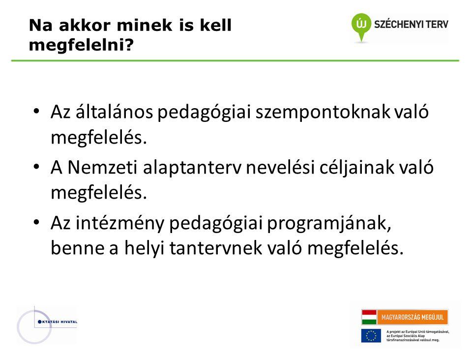 Az általános pedagógiai szempontoknak való megfelelés. A Nemzeti alaptanterv nevelési céljainak való megfelelés. Az intézmény pedagógiai programjának,