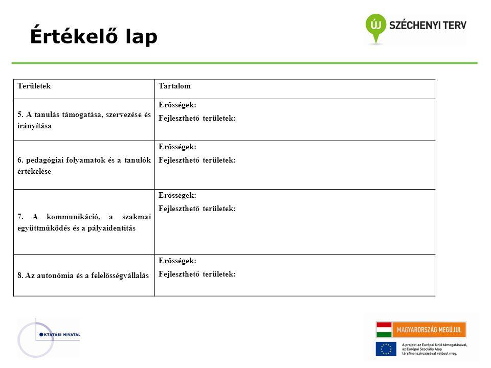 Értékelő lap TerületekTartalom 5. A tanulás támogatása, szervezése és irányítása Erősségek: Fejleszthető területek: 6. pedagógiai folyamatok és a tanu