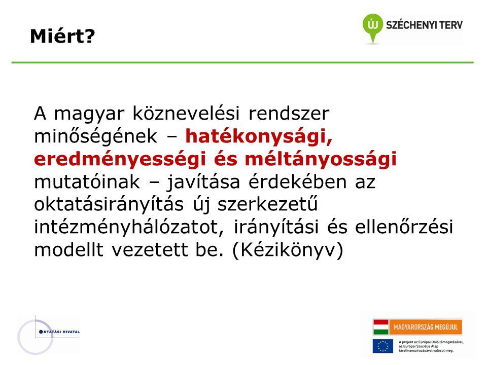 A magyar köznevelési rendszer minőségének – hatékonysági, eredményességi és méltányossági mutatóinak – javítása érdekében az oktatásirányítás új szerkezetű intézményhálózatot, irányítási és ellenőrzési modellt vezetett be.