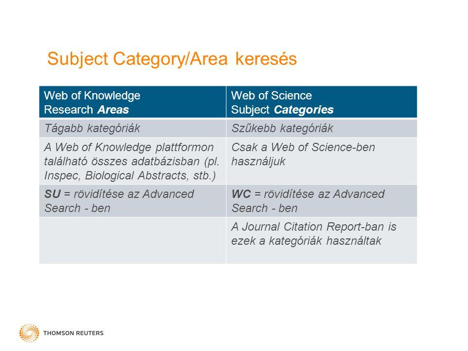 Subject Category/Area keresés Web of Knowledge Research Areas Web of Science Subject Categories Tágabb kategóriákSzűkebb kategóriák A Web of Knowledge