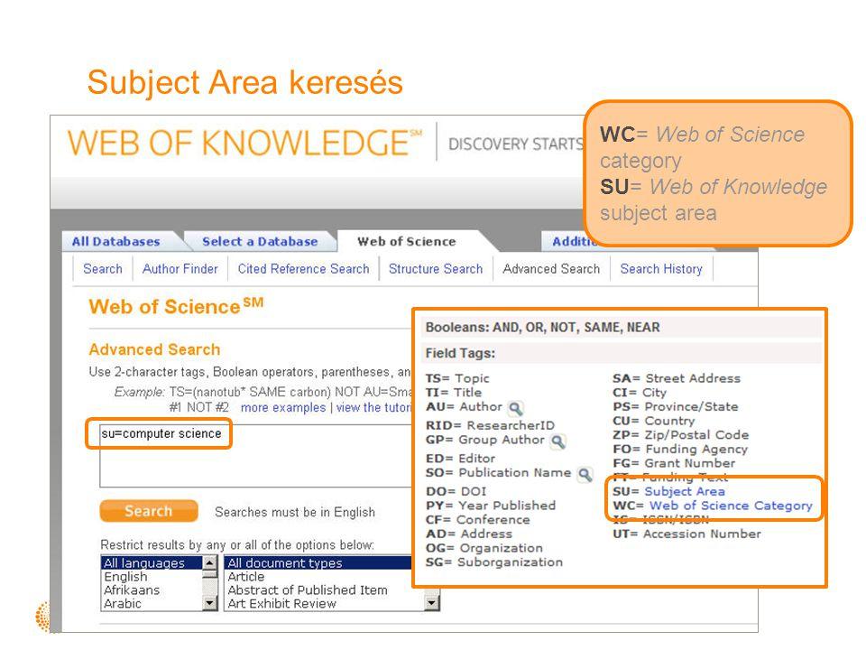 Subject Area keresés WC= Web of Science category SU= Web of Knowledge subject area