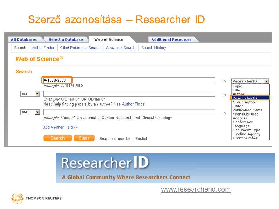 Szerző azonosítása – Researcher ID www.researcherid.com
