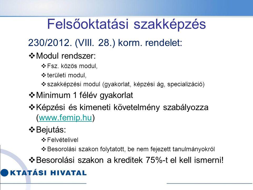 Felsőoktatási szakképzés 230/2012. (VIII. 28.) korm. rendelet:  Modul rendszer:  Fsz. közös modul,  területi modul,  szakképzési modul (gyakorlat,