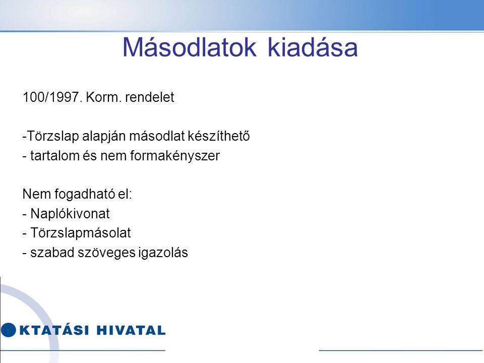 Másodlatok kiadása 100/1997. Korm. rendelet -Törzslap alapján másodlat készíthető - tartalom és nem formakényszer Nem fogadható el: - Naplókivonat - T