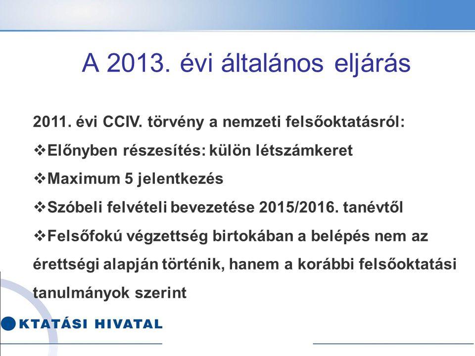 A 2013. évi általános eljárás 2011. évi CCIV. törvény a nemzeti felsőoktatásról:  Előnyben részesítés: külön létszámkeret  Maximum 5 jelentkezés  S