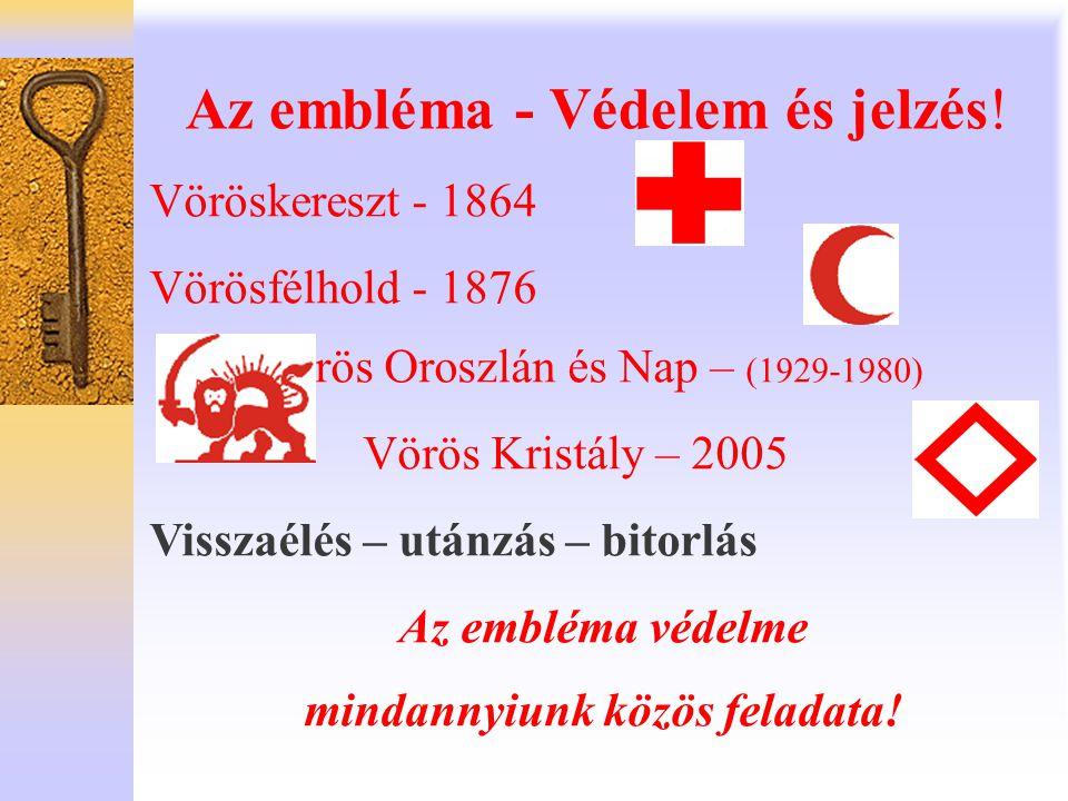 Az embléma - Védelem és jelzés! Vöröskereszt - 1864 Vörösfélhold - 1876 Vörös Oroszlán és Nap – (1929-1980) Vörös Kristály – 2005 Visszaélés – utánzás