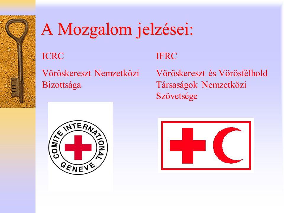 A Mozgalom jelzései: ICRC Vöröskereszt Nemzetközi Bizottsága IFRC Vöröskereszt és Vörösfélhold Társaságok Nemzetközi Szövetsége