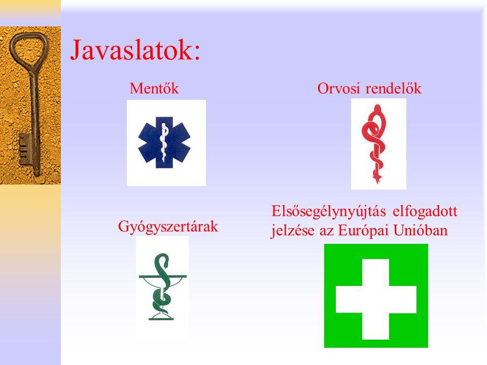 Javaslatok: Mentők Gyógyszertárak Orvosi rendelők Elsősegélynyújtás elfogadott jelzése az Európai Unióban