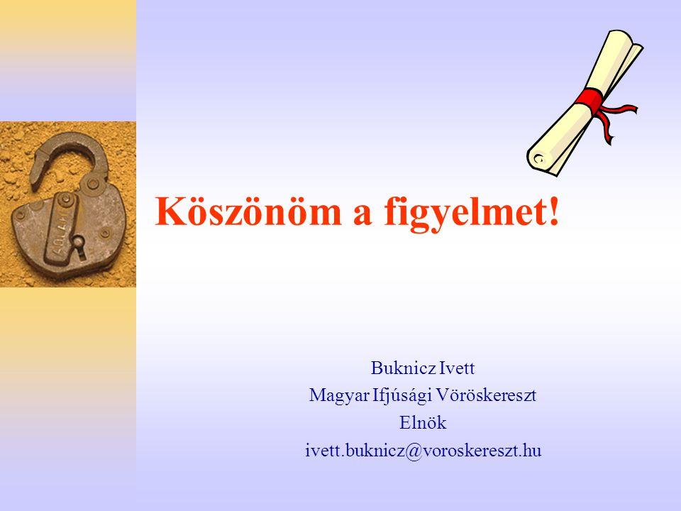 Köszönöm a figyelmet! Buknicz Ivett Magyar Ifjúsági Vöröskereszt Elnök ivett.buknicz@voroskereszt.hu