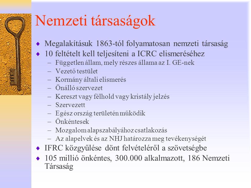 Nemzeti társaságok  Megalakításuk 1863-tól folyamatosan nemzeti társaság  10 feltételt kell teljesíteni a ICRC elismeréséhez –Független állam, mely
