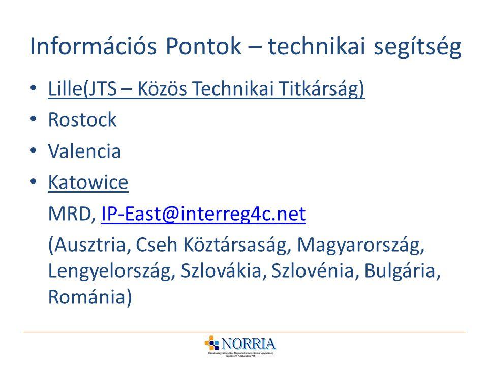 Információs Pontok – technikai segítség Lille(JTS – Közös Technikai Titkárság) Rostock Valencia Katowice MRD, IP-East@interreg4c.netIP-East@interreg4c.net (Ausztria, Cseh Köztársaság, Magyarország, Lengyelország, Szlovákia, Szlovénia, Bulgária, Románia)