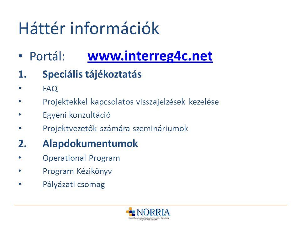 Háttér információk Portál: www.interreg4c.net www.interreg4c.net 1.Speciális tájékoztatás FAQ Projektekkel kapcsolatos visszajelzések kezelése Egyéni konzultáció Projektvezetők számára szemináriumok 2.Alapdokumentumok Operational Program Program Kézikönyv Pályázati csomag