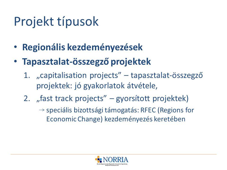 """Projekt típusok Regionális kezdeményezések Tapasztalat-összegző projektek 1.""""capitalisation projects – tapasztalat-összegző projektek: jó gyakorlatok átvétele, 2.""""fast track projects – gyorsított projektek) speciális bizottsági támogatás: RFEC (Regions for Economic Change) kezdeményezés keretében"""