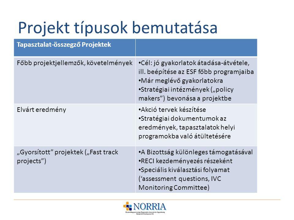 Projekt típusok bemutatása Tapasztalat-összegző Projektek Főbb projektjellemzők, követelmények Cél: jó gyakorlatok átadása-átvétele, ill.