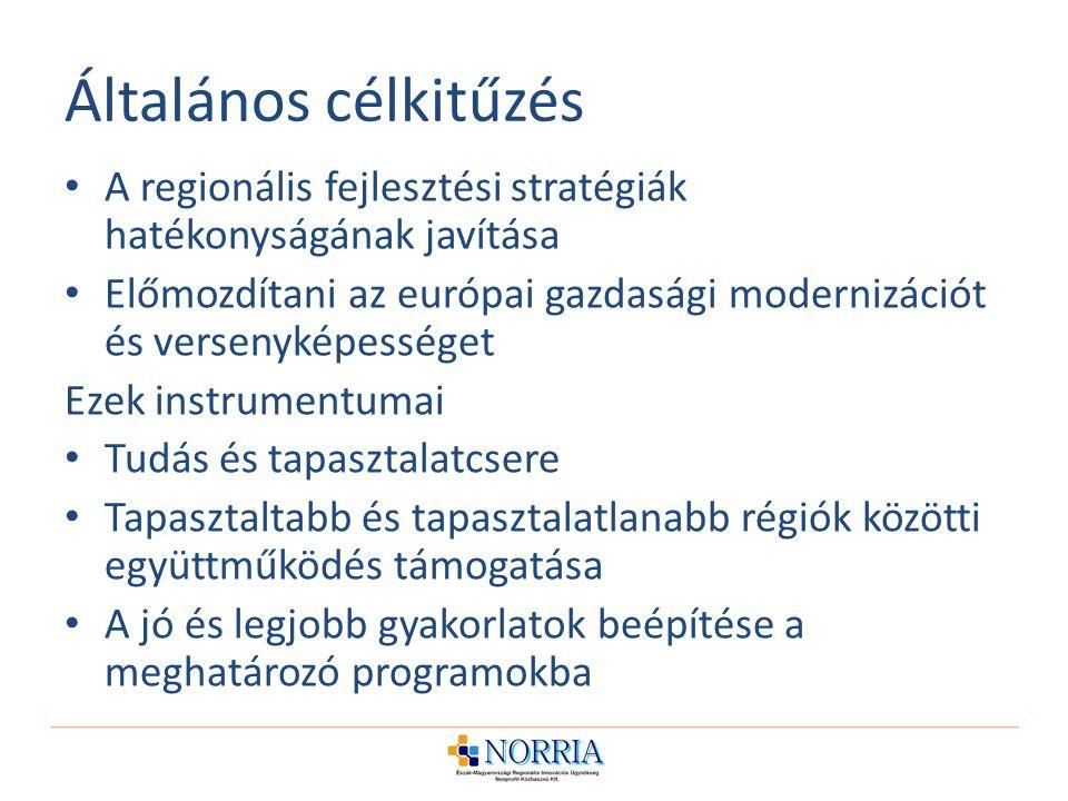 Általános célkitűzés A regionális fejlesztési stratégiák hatékonyságának javítása Előmozdítani az európai gazdasági modernizációt és versenyképességet Ezek instrumentumai Tudás és tapasztalatcsere Tapasztaltabb és tapasztalatlanabb régiók közötti együttműködés támogatása A jó és legjobb gyakorlatok beépítése a meghatározó programokba