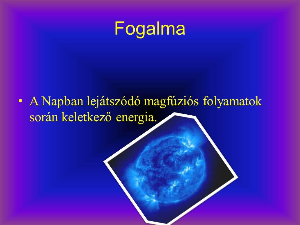 Fogalma A Napban lejátszódó magfúziós folyamatok során keletkező energia.