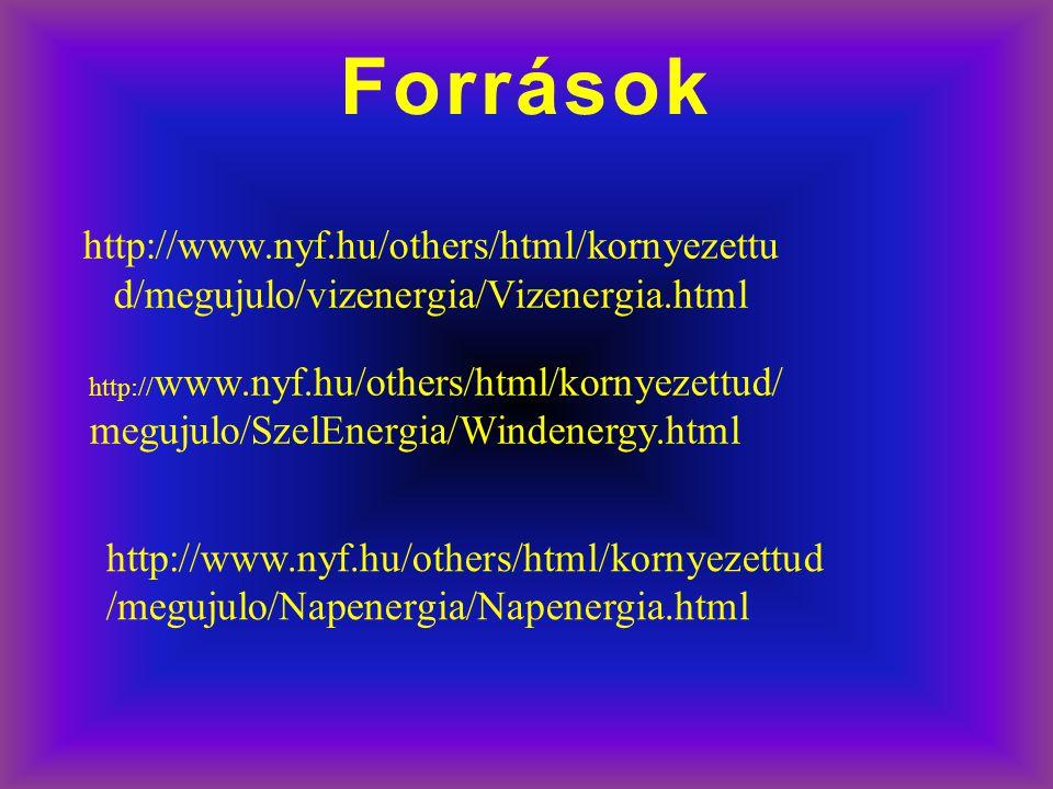 Források http://www.nyf.hu/others/html/kornyezettu d/megujulo/vizenergia/Vizenergia.html http:// www.nyf.hu/others/html/kornyezettud/ megujulo/SzelEne