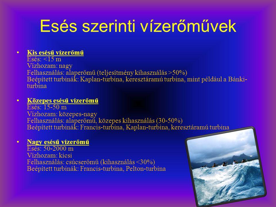 Esés szerinti vízerőművek Kis esésű vízerőmű Esés: 50%) Beépített turbinák: Kaplan-turbina, keresztáramú turbina, mint például a Bánki- turbina Közepe