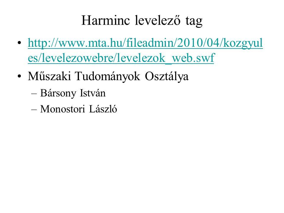 Harminc levelező tag http://www.mta.hu/fileadmin/2010/04/kozgyul es/levelezowebre/levelezok_web.swfhttp://www.mta.hu/fileadmin/2010/04/kozgyul es/leve
