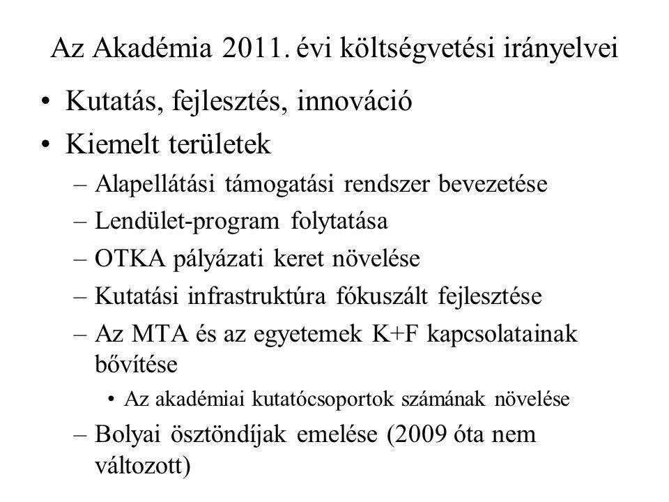 Az Akadémia 2011. évi költségvetési irányelvei Kutatás, fejlesztés, innováció Kiemelt területek –Alapellátási támogatási rendszer bevezetése –Lendület