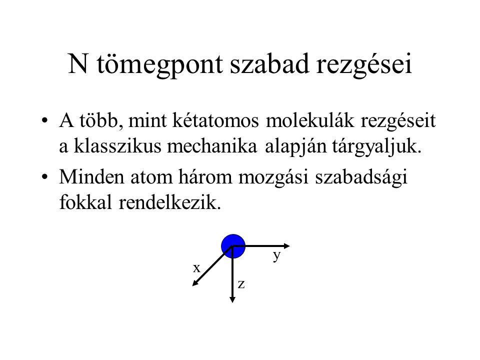 N tömegpont szabad rezgései A több, mint kétatomos molekulák rezgéseit a klasszikus mechanika alapján tárgyaljuk. Minden atom három mozgási szabadsági