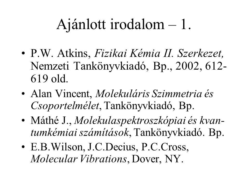 Ajánlott irodalom – 1. P.W. Atkins, Fizikai Kémia II. Szerkezet, Nemzeti Tankönyvkiadó, Bp., 2002, 612- 619 old. Alan Vincent, Molekuláris Szimmetria