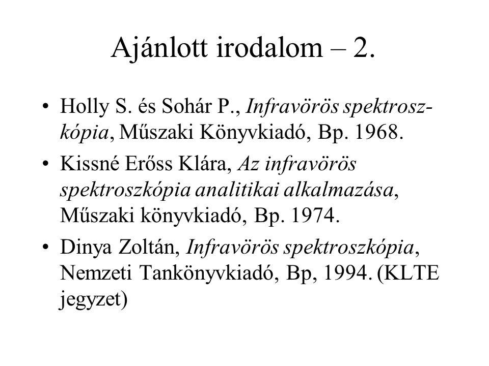 Ajánlott irodalom – 2. Holly S. és Sohár P., Infravörös spektrosz- kópia, Műszaki Könyvkiadó, Bp. 1968. Kissné Erőss Klára, Az infravörös spektroszkóp