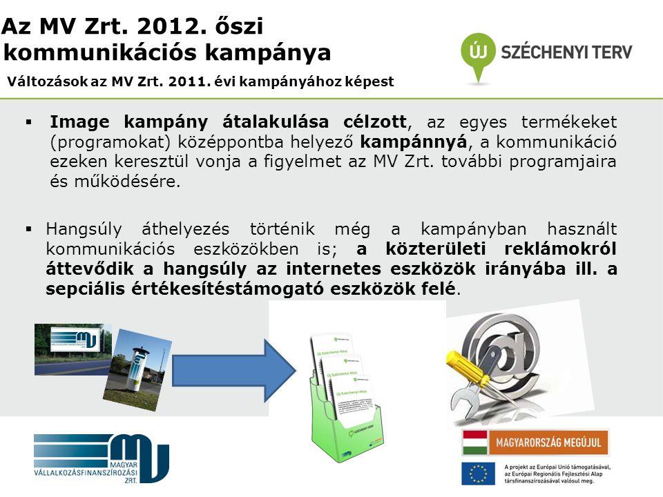  Image kampány átalakulása célzott, az egyes termékeket (programokat) középpontba helyező kampánnyá, a kommunikáció ezeken keresztül vonja a figyelmet az MV Zrt.