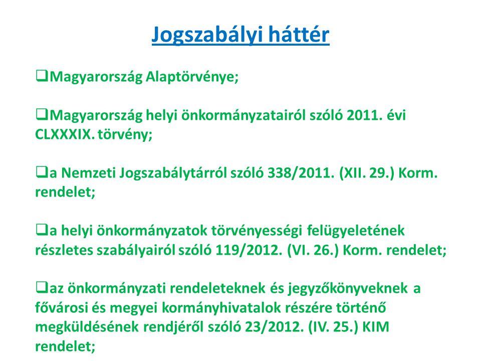Jogszabályi háttér  Magyarország Alaptörvénye;  Magyarország helyi önkormányzatairól szóló 2011. évi CLXXXIX. törvény;  a Nemzeti Jogszabálytárról